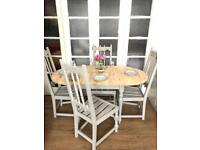 Table and 4 chairs free delivery Ldn🇬🇧shabby chic extendable table