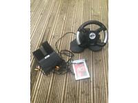 PlayStation 2 steering wheel, pedal and Gran Turismo 3 game