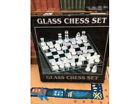 Glass Chess Set - LARGE - 375mm x 375mm board - clear & frosted glass chess pieces - BOXED