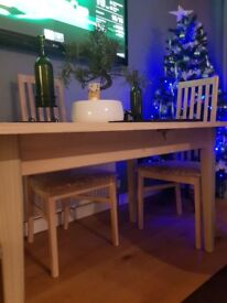 Light Ash Solid Wood Table and 4 Chairs