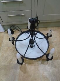 Large 6 bulb chandelier light with white glass shade