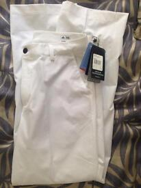 White Adidas Golf Trousers Brand New