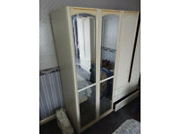 GOOD QUALITY WHITE LARGE MIRRORED WARDROBE - 2 DOORS WITH MIRRORS - STURDY - ILFORD