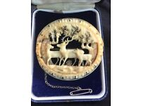 Antique ivory brooch, circa 1840s, Black Forest ivory with deer carving.. beautiful