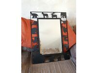 Black Cast Iron Framed Mirror (Noah's Ark theme)