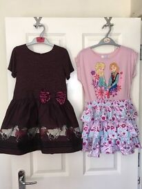2 Girls Dresses - Age 9 - Frozen and Horses