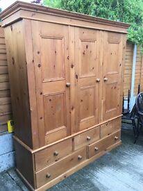 Pine 3 door wardrobe, 5 draws, ANTIQUE pine,