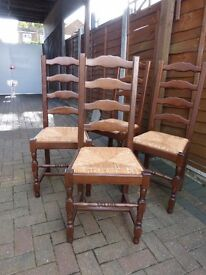 4 x Oak (?) French Dining Room Chairs – Very good condition