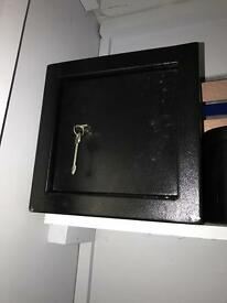 Steel safe comes with keys