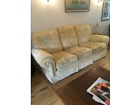 gokd 2 seater and 3 seater sofa and armchair. It is about 7 years old. Redecorating. Cleaned regular