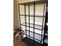 IKEA VITTSJÖ Bookcase / Shelving Unit - Black/Glass