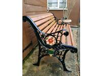 REFURBISHED CAST IRON AND HARDWOOD GARDEN BENCH