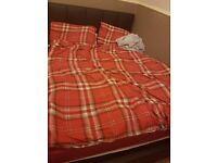 Faux leather double bed frame and mattress for sale