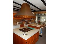 Copper hood for cooker hob with integral extractor fan and light
