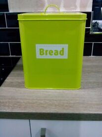 Brand New Large Bread Bin / Tin with Lid - Lime Green