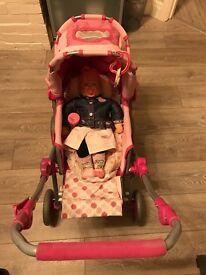 Chou chou doll pram buggy car seat changing wardrobe dolls clothes accessories bundle vgc