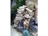 Broken Paving slabs and bricks