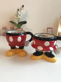 Mickey and Minnie half mugs and teapot