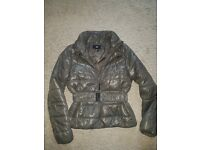 H&M green short jacket with belt size 10