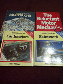 Collection of car repair and restoration books