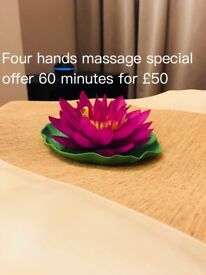 Save £25 on the four hands massage at Lanna Thai Massage & Spa offer for £50 per hour ( usually £75)