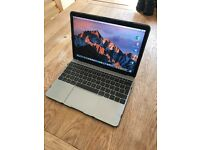 "12"" inch Apple MacBook, Space grey, 1.1 GHz intel Core m3, 256GB, Retina screen."