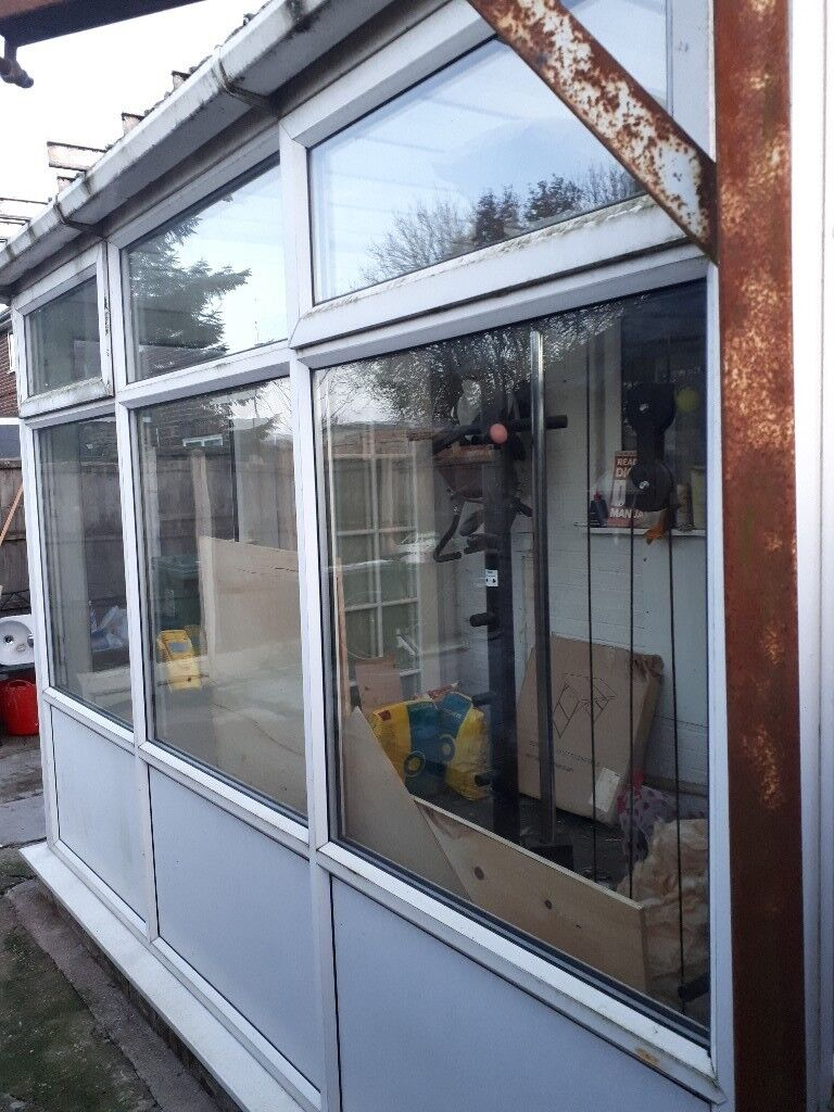 Conservatory/porch frame with glass
