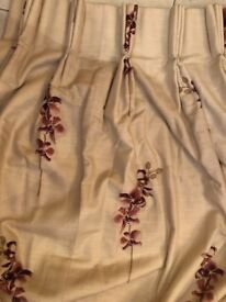 Double lined Burgundy lily pattern on cream background for sale