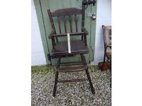 Vintage,Solid Hardwood,Child's High Chair.