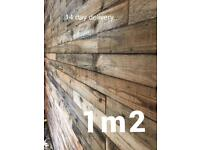 Reclaimed pallet wood feature wall not wallpaper