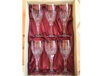 Crystal Wine Glasses: Set of 6 Galway Irish crystal glasses, unused and in perfect condition
