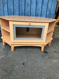 Corner Beech TV Cabinet .