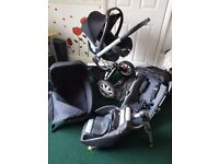 QUINNY BUZZ 3 FULL TRAVEL SYSTEM in black isofix car base incl