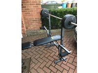 Weight bench with bar and weights