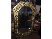 Lovely Vintage Art Deco Octagonal Embossed Brass Wall Mirror