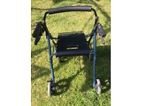 Coopers. 4 wheel Mobility walker aid / rollator. Adjustable with seat and basket.