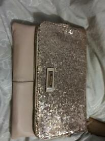 River island nude and gold sequin clutch