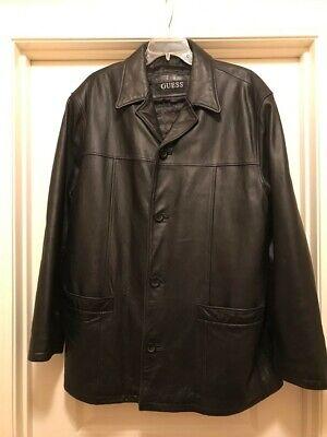 GUESS Mens Black Leather Coat Jacket XL