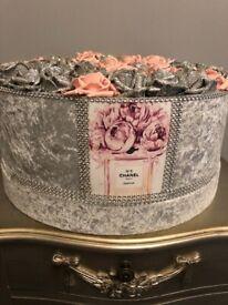 Stunning Grey velvet flower sparkle crystal box