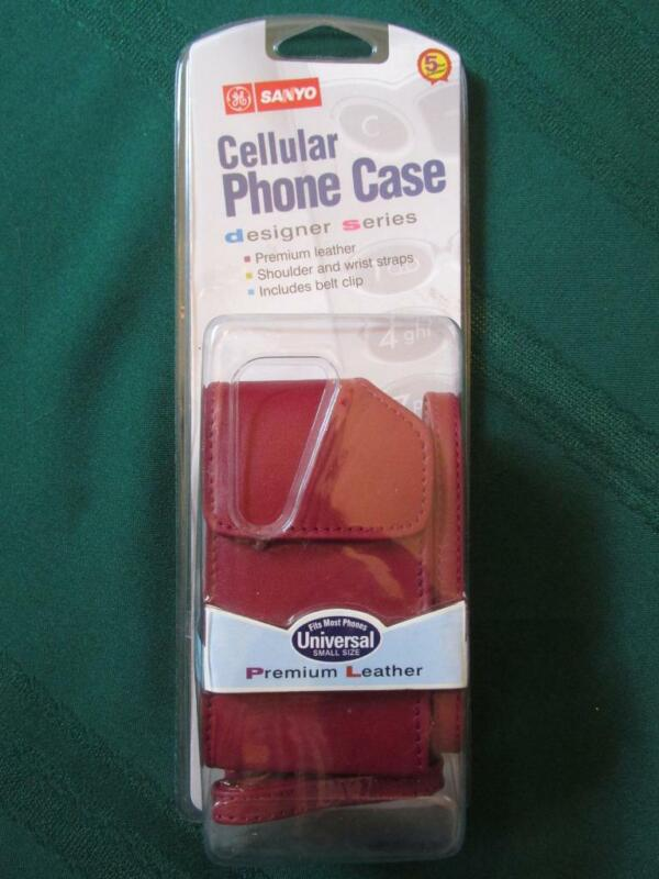 Vintage Sanyo Cellular Phone Case - Burgundy Leather Small - SEALED Orig Pkg