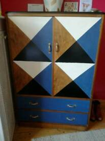 Hand painted Tallboy / wardrobe / chest of drawers