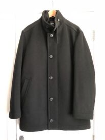HUGO BOSS Men's Coat In Black - 90% Wool / 10% Cashmere - Size XL In Impeccable Condition...