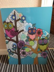 Large Colourful owl wooden picture
