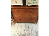 CHEST OF 5 DRAWERS VICTORIAN PINE BUN FEET ORIGINAL