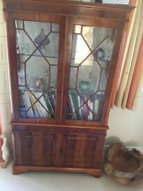 Yew wood bookcase