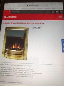 Dimplex Brass optiflame electric insert fire