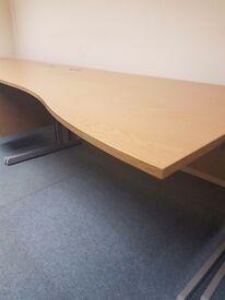 Right handed waved Oak effect office desk good quality