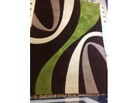 Large Green & Brown Pattern Rug - Living Front Room Decor