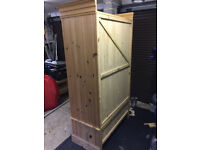 Solid pine wardrobe with dovetailed drawers