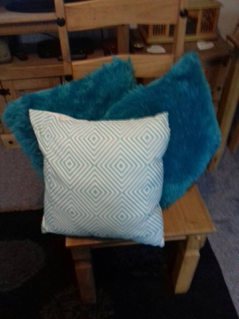 3 excellent condition cushions with washable covers from pet and smoke free home